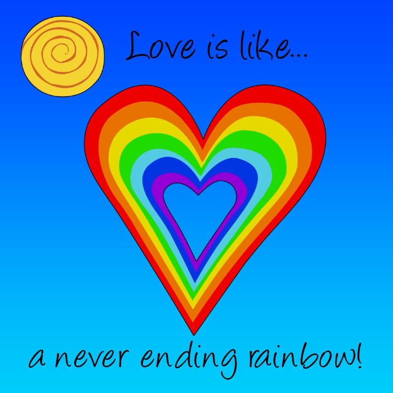 """Liefde kaarten - Liefde kaart met """"regenboog"""""""