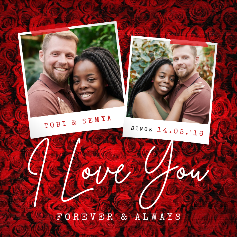 Liefde kaarten - Liefde kaart rozen i love you foto's