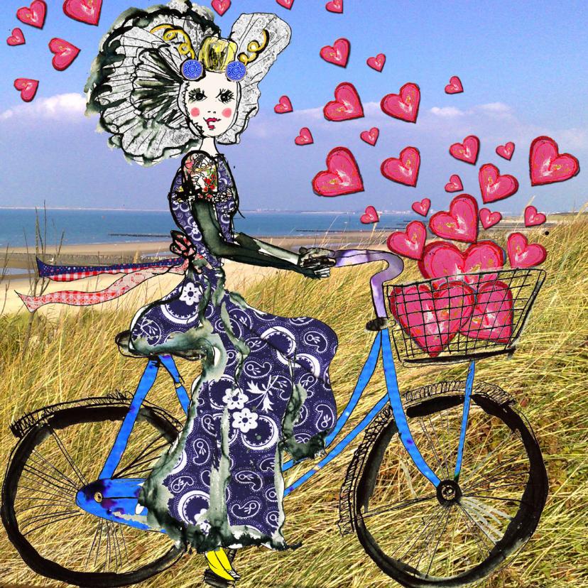 Liefde kaarten - Liefde kaart Zeeuws meisje fiets