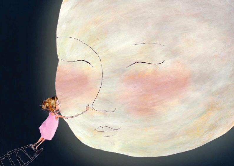 Liefde kaarten - Liefde kaarten Een kus aan de maan