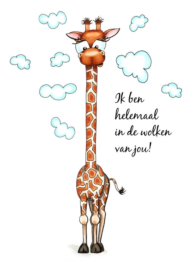 Liefde kaarten - Liefde kaarten giraffe met hoofd in de wolken