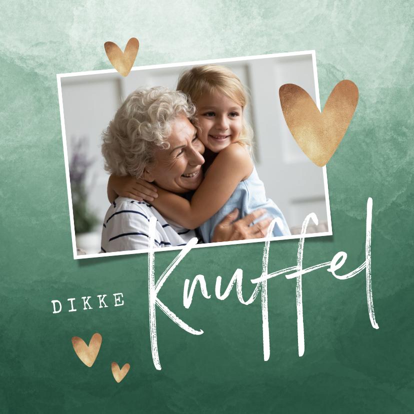 Liefde kaarten - Liefdekaart dikke knuffel waterverf gouden hartjes
