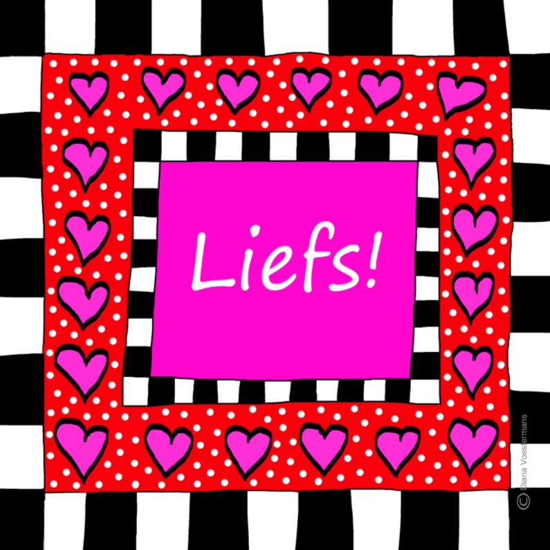 Liefde kaarten - Liefs met roze hartjes