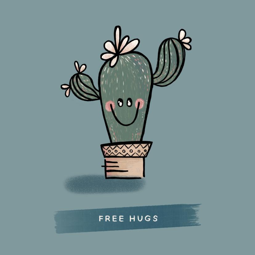 Liefde kaarten - Lieve ik-denk-aan-je-kaart met vrolijke cactus