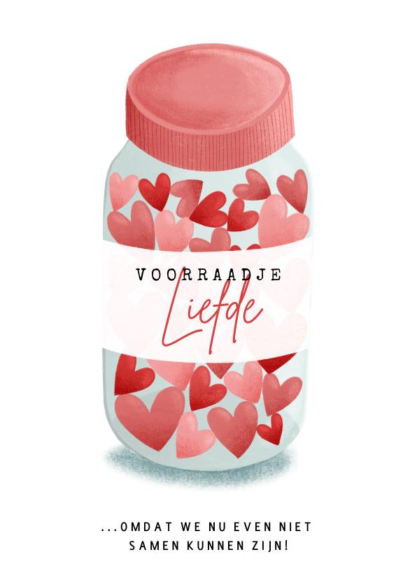 Liefde kaarten - Lieve liefdekaart met voorraadje Liefde hartjes in pot