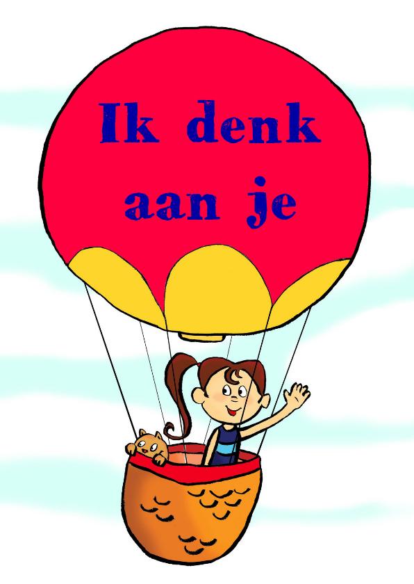 Liefde kaarten - Meisje met kat in luchtballon