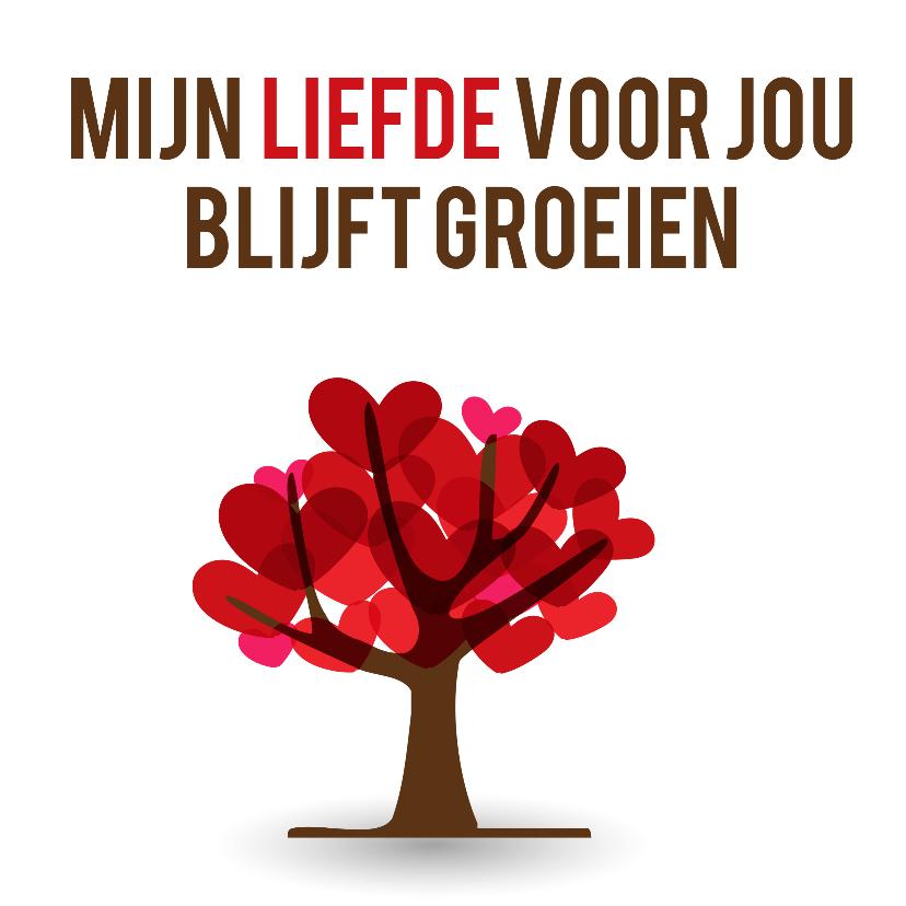 Liefde kaarten - Mijn liefde voor jou blijft groeien met een boom met hartjes