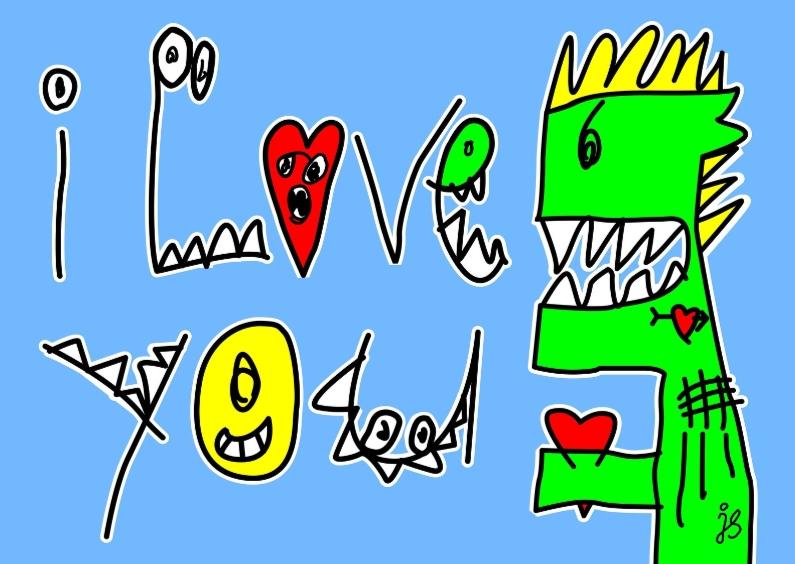 Liefde kaarten - Monster die I love you zegt.