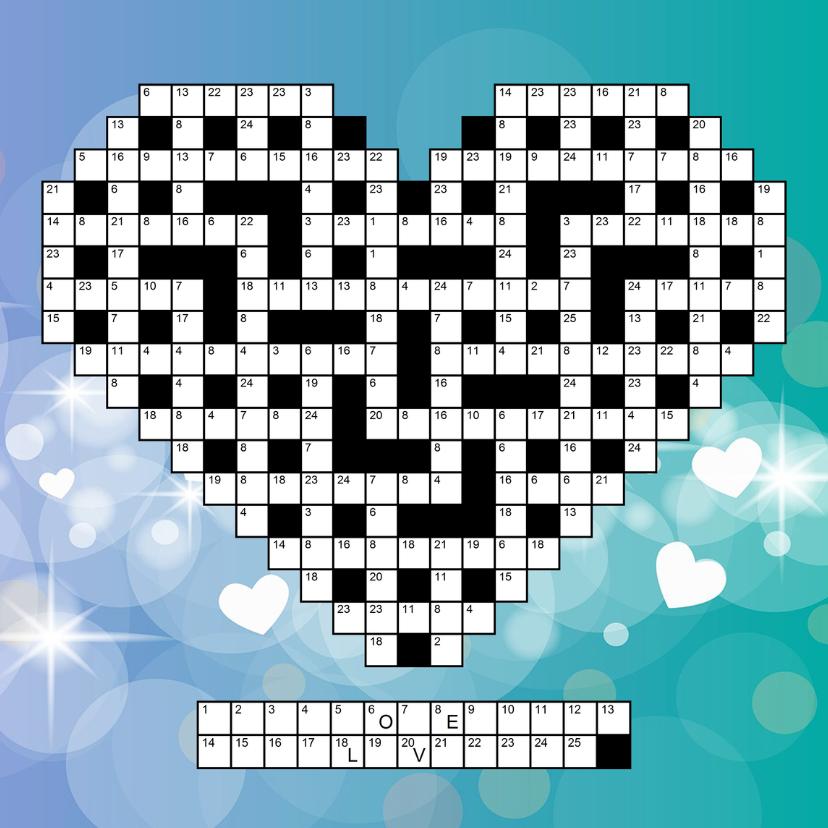 Liefde kaarten - Puzzelkaartje Liefde met cijfercode in hartvorm