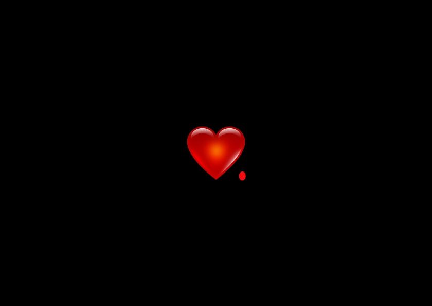 Liefde kaarten - Rood hartje, zwarte achtergrond