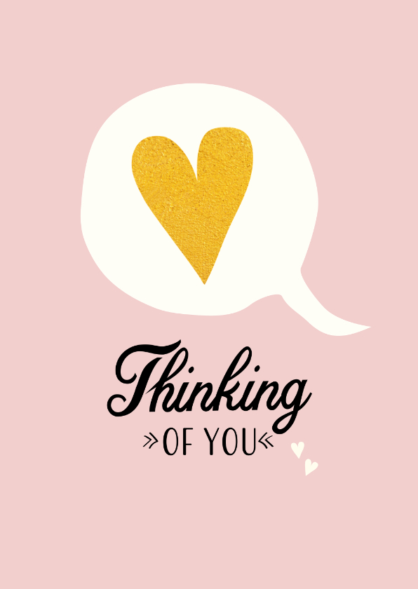 Liefde kaarten - Tekstballon met gouden hart voor een lief berichtje