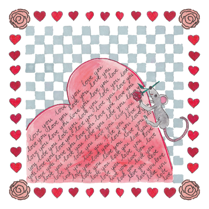 Liefde kaarten - Valentijnskaart met muis en hart
