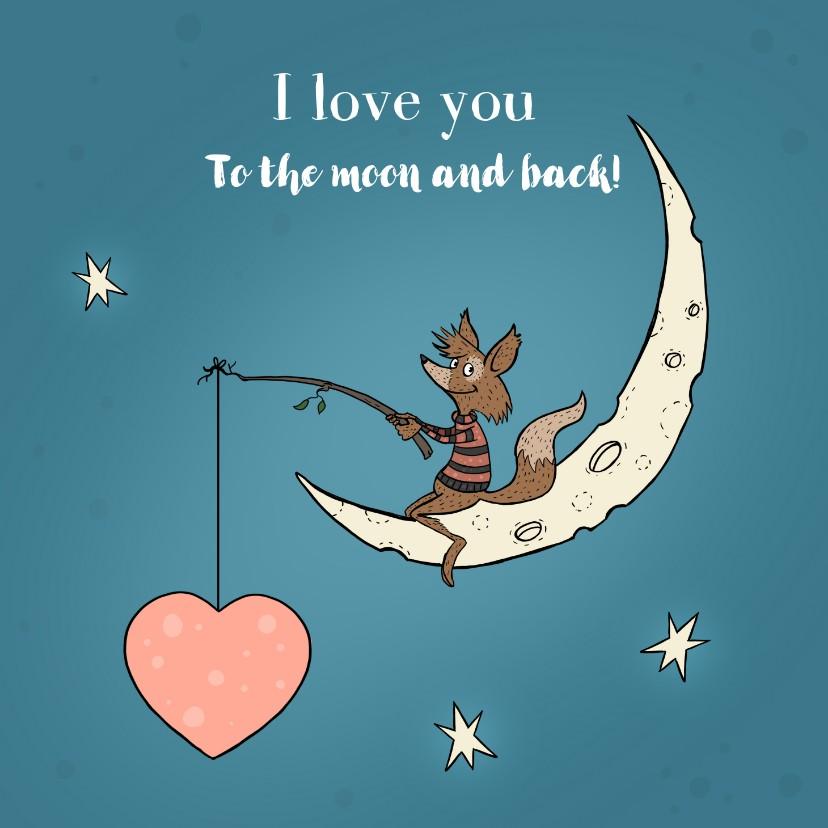Liefde kaarten - Valentijnskaart vos op de maan