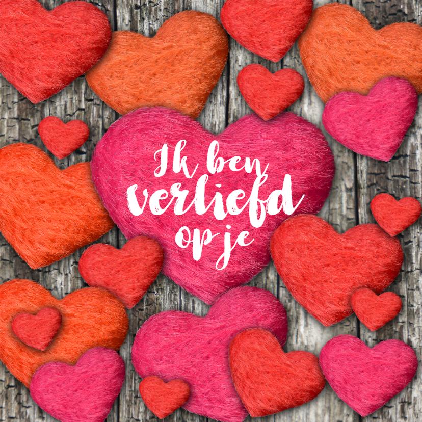 Liefde kaarten - Verliefd valentijn hartjes liefde eigen tekst
