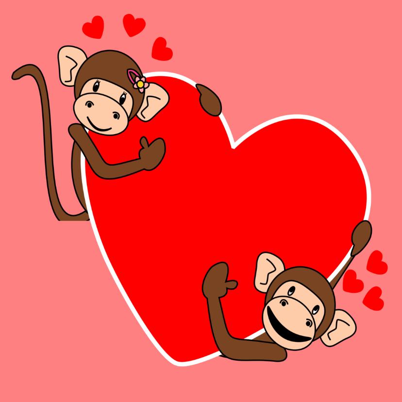 Liefde kaarten - Verliefde apen met groot hart!