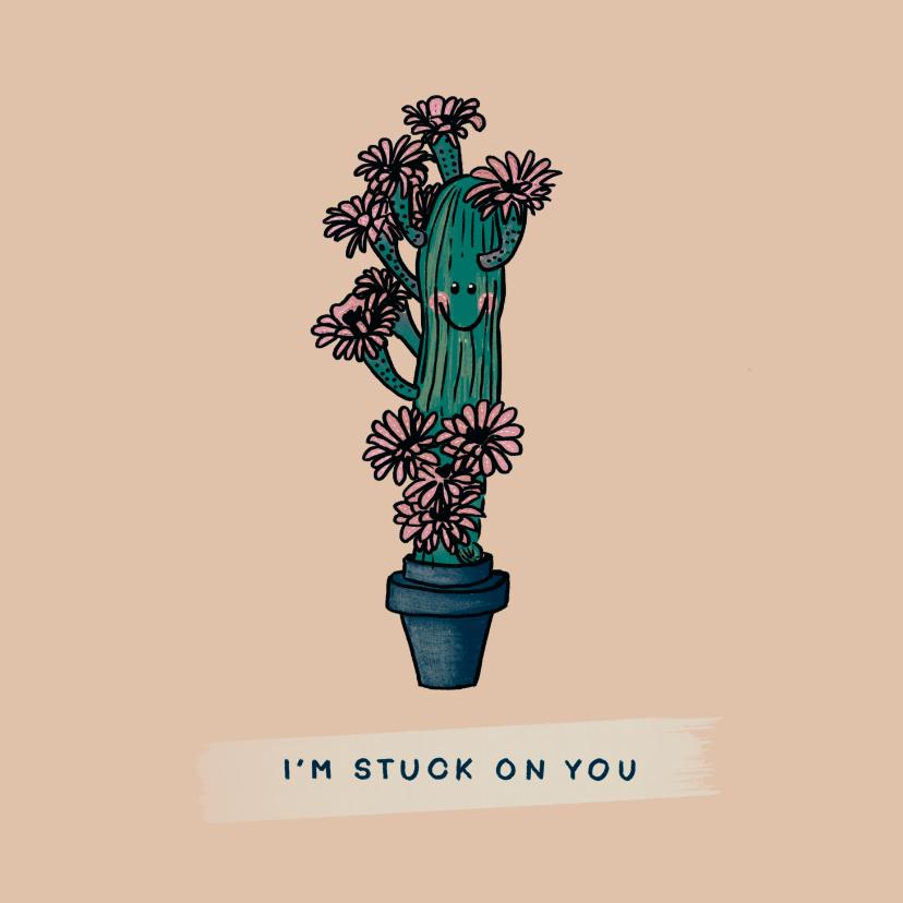 Liefde kaarten - Vrolijke liefde kaart met verliefde cactus vol roze bloemen