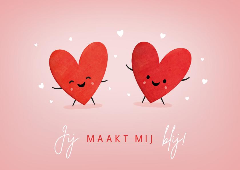 Liefde kaarten - Vrolijke liefdeskaart jij maakt mij blij- levende hartjes