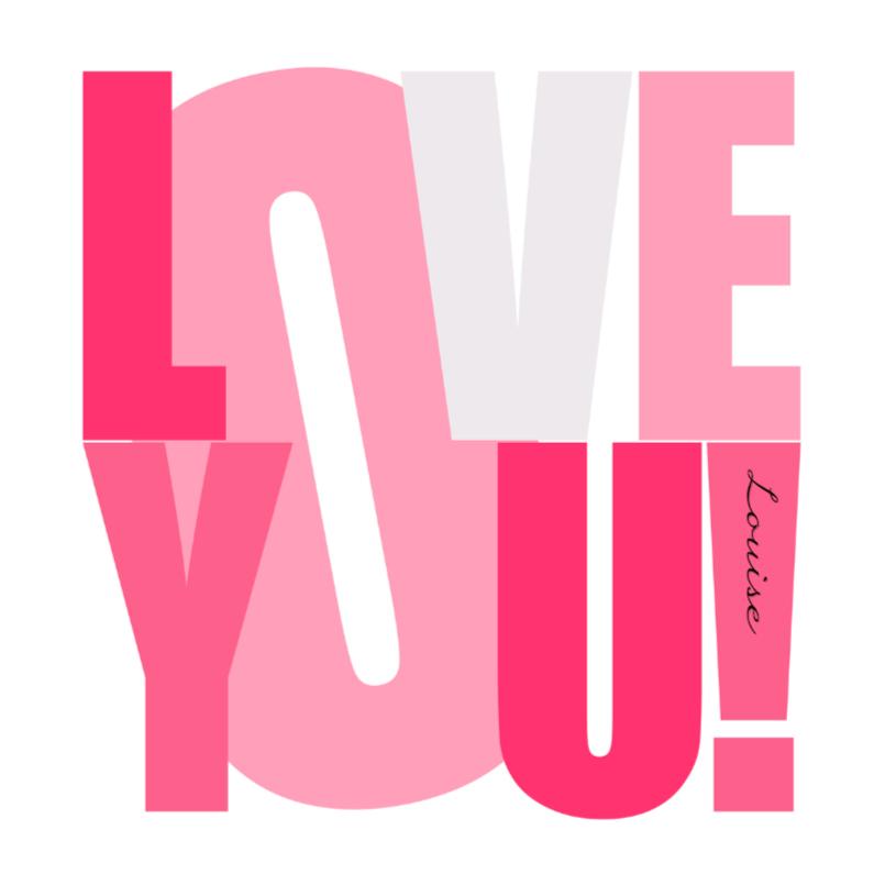 Liefde kaarten - Woorden Love you! Roze - BK