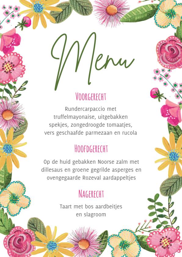 Menukaarten - Botanisch menukaart bloemen