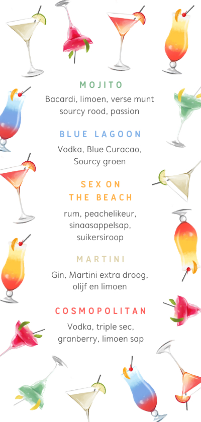 Menukaarten - Cocktail kaart menu zomer vrolijk illustraties