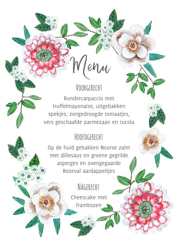Menukaarten - Een fris botanische menukaart met bloemen