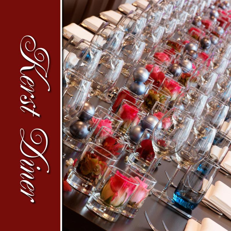Kerstkaarten - Kerst diner - Menukaart - gedekte tafel