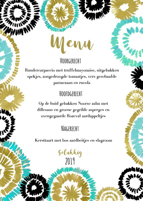 Menukaarten - Kerst en Nieuwjaar menu vuurwerk