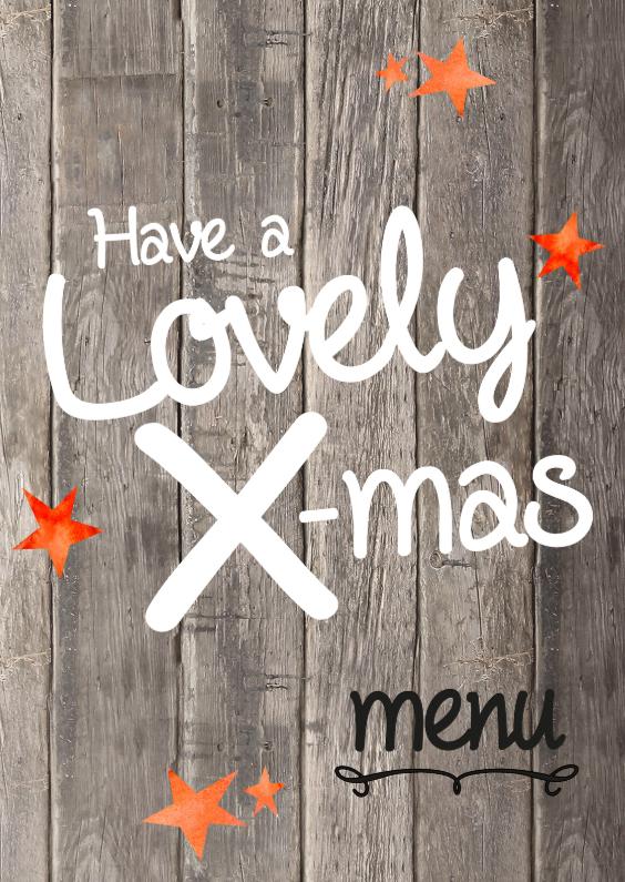 Menukaarten - Kerst menukaart  lovely hout