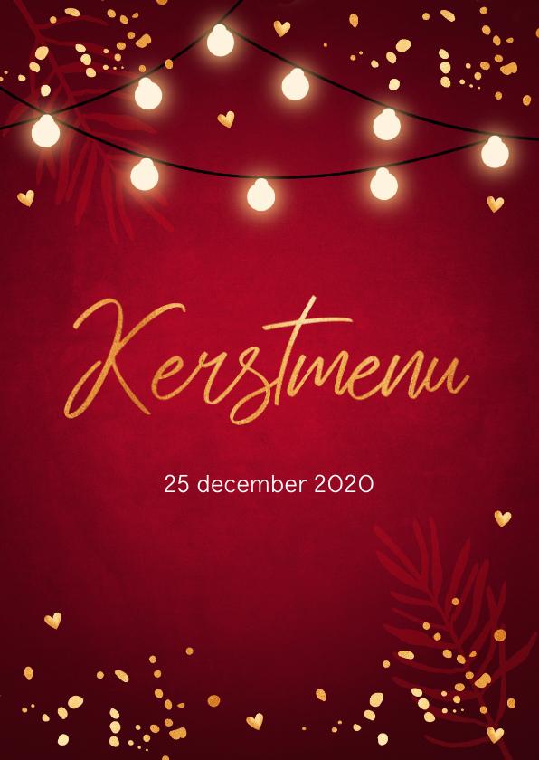 Menukaarten - Kerstmenukaart rood design