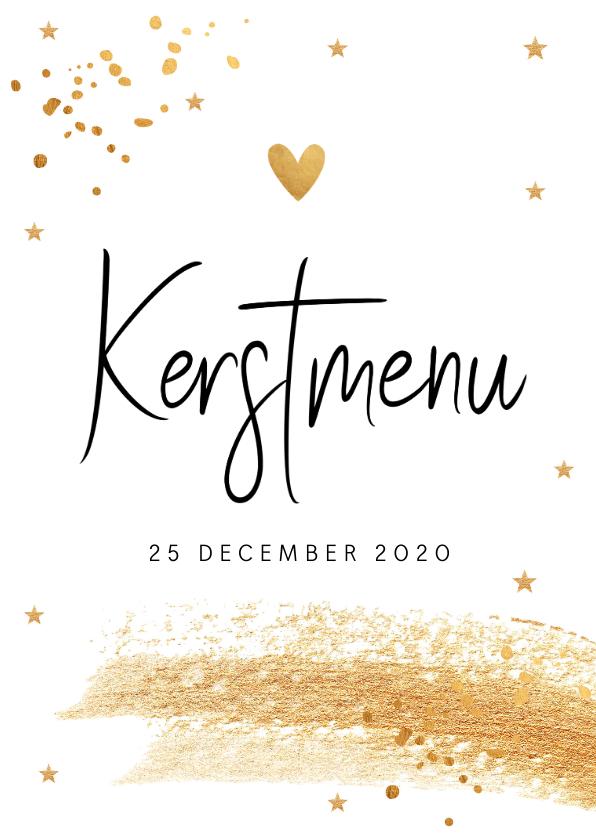Menukaarten - Kerstmenukaart gouden confetti