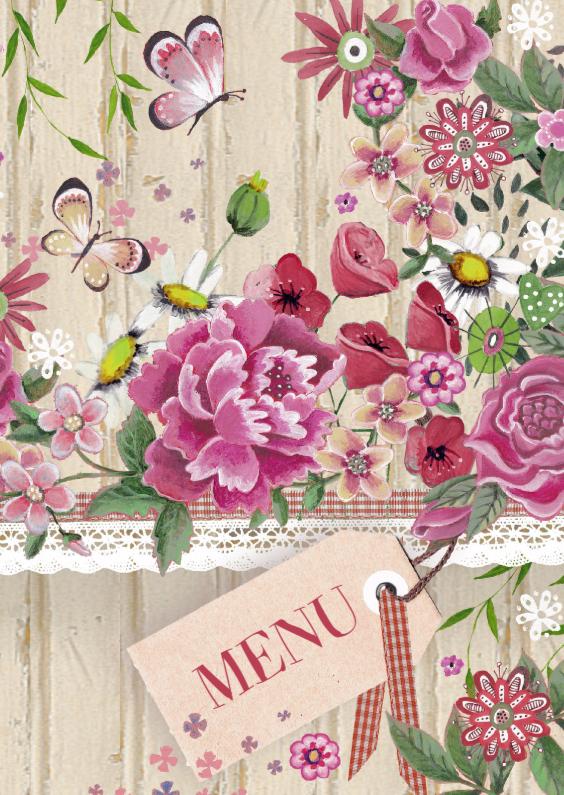 Menukaarten - Menu bloemen hout romantisch