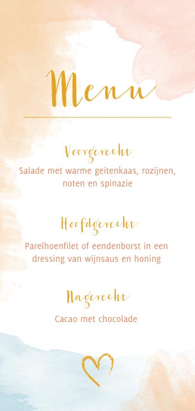 Menukaarten - Menu bruiloft waterverf peach roze blauw