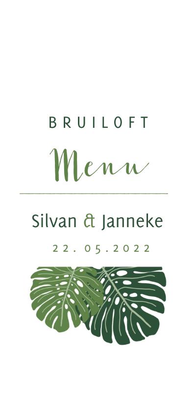 Menukaarten - Menu kaart botanisch bruiloft groen