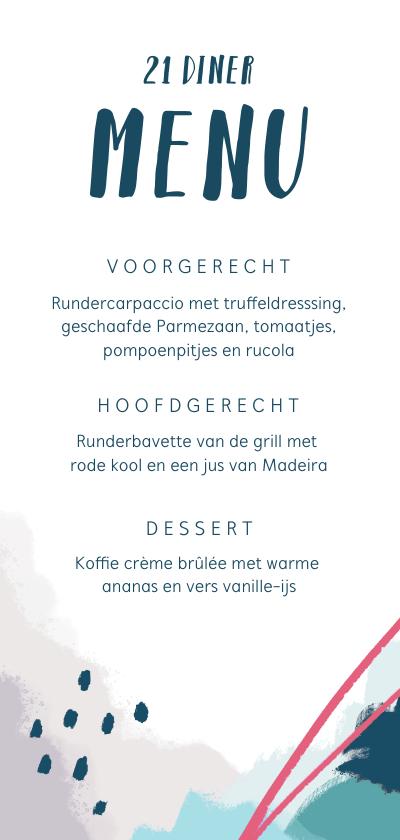 menukaart 21 diner abstract en stijlvol