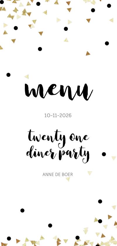 Menukaarten - Menukaart 21 diner party confetti zwart wit