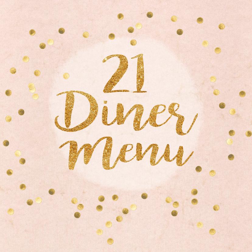 Menukaarten - menukaart 21 diner roze met gouden letters