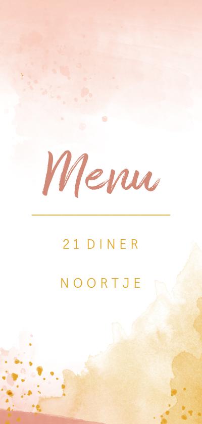 Menukaarten - Menukaart 21 diner waterverf oker goud en roze