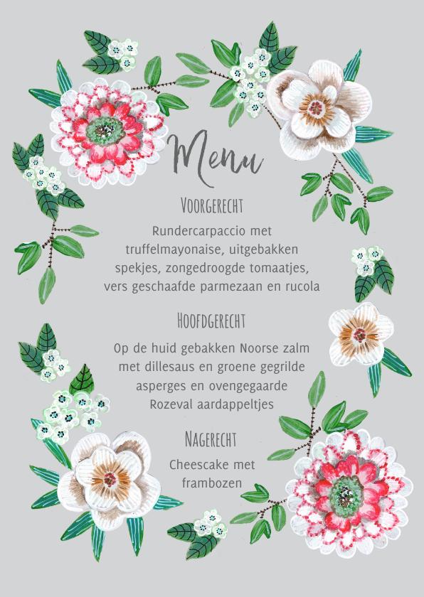 Menukaarten - Menukaart bloemen botanisch grijs