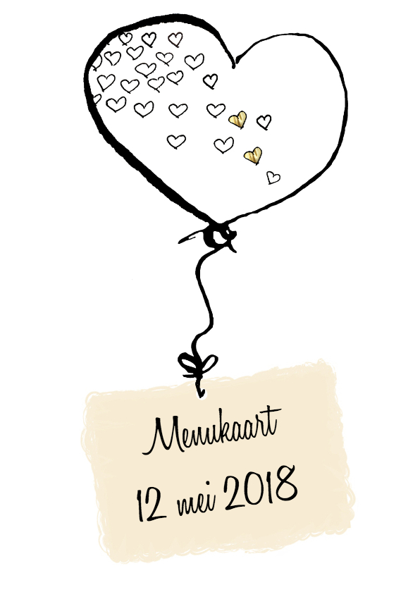 Menukaarten - Menukaart bruiloft hartjesballon