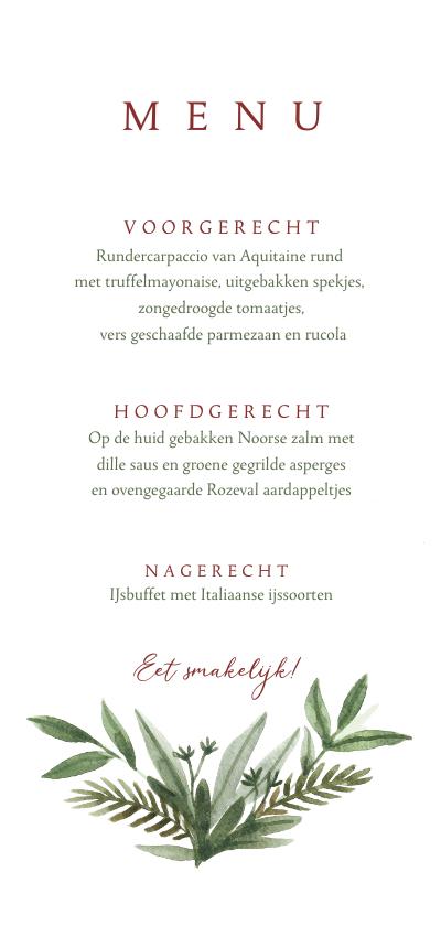 Menukaarten - Menukaart diner bruiloft met waterverf takjes