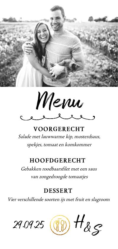 Menukaarten - Menukaart - diner met eigen foto