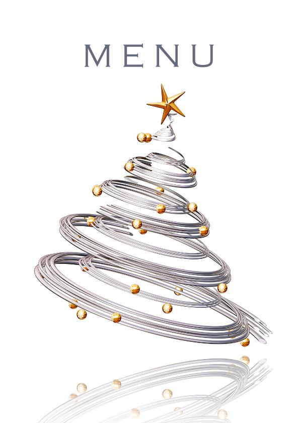Menukaarten - Menukaart kerstdiner met kerstboom