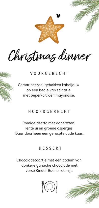 Menukaarten - Menukaart kerstdiner met kerstkoekje en takjes