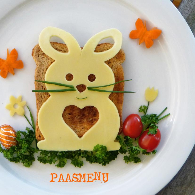 Menukaarten - Menukaart Pasen - versierd brunch bord