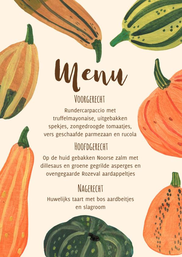 Menukaarten - Menukaart pompoenen herfst feest halloween