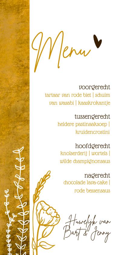 Menukaarten - Romantische oker-gele menukaart met wilde bloemen