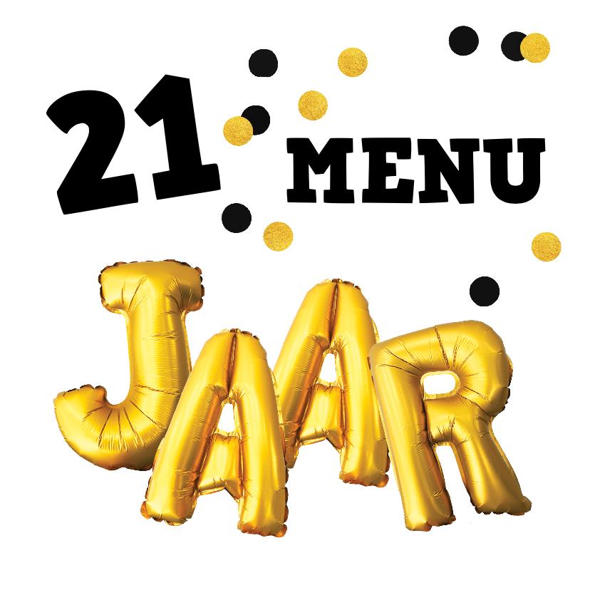 Menukaarten - Uitnodiging 21-diner menukaart confetti goud zwart