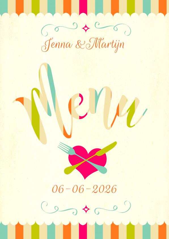 Menukaarten - Vrolijke menukaart trouwfeest
