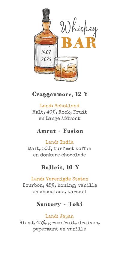Menukaarten - Whiskey kaart proeverij feest drankenkaart