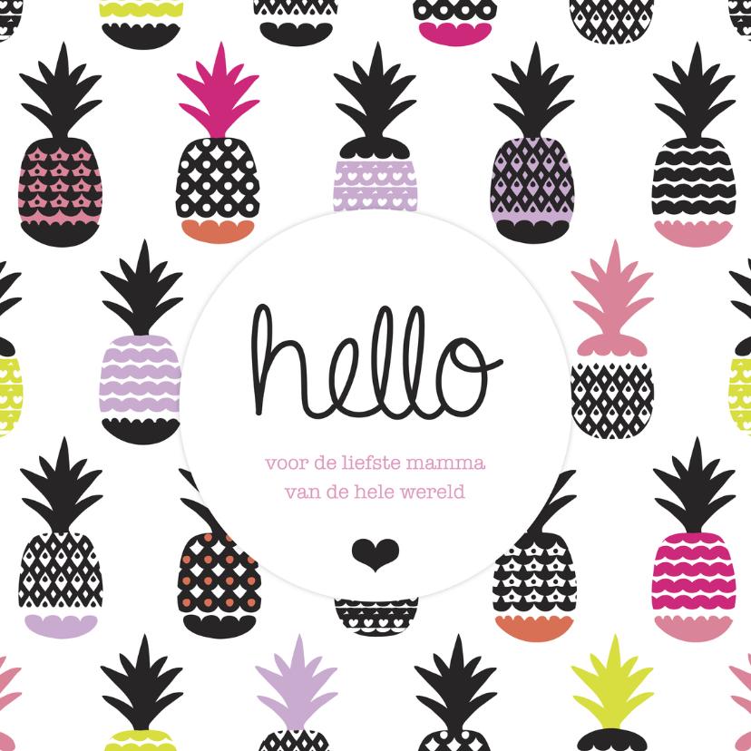Moederdag kaarten - Ananas fruit moederdag mamma